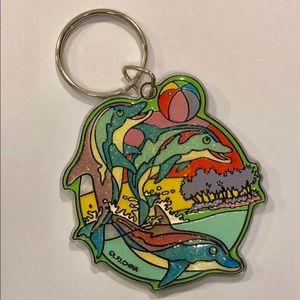 Lisa Frank large glitter dolphin key chain
